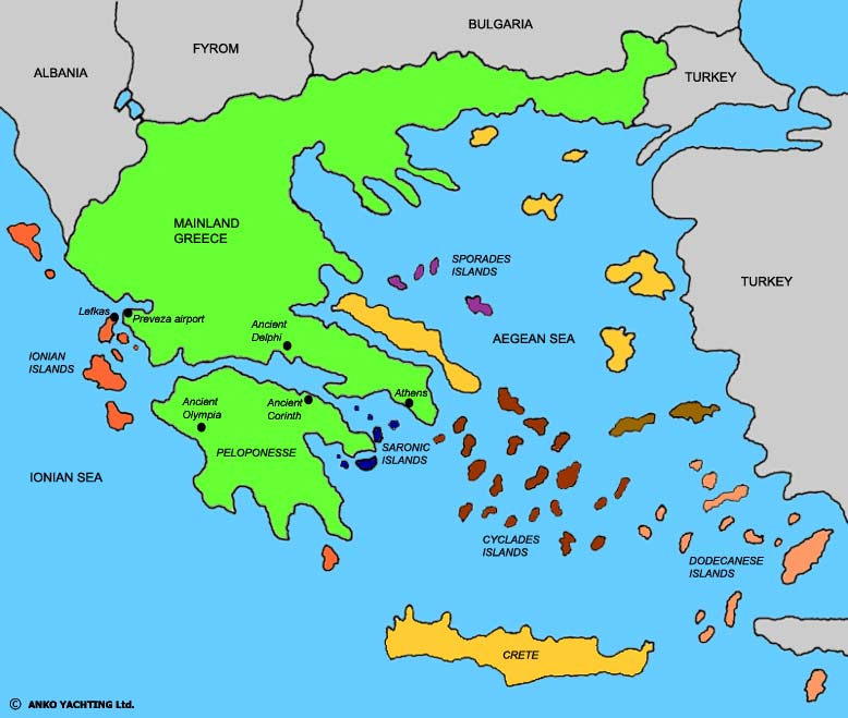Detailed Map Of Greek Islands In English