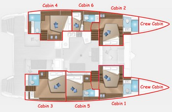 Sailing catamaran Nicolas - Interior layout