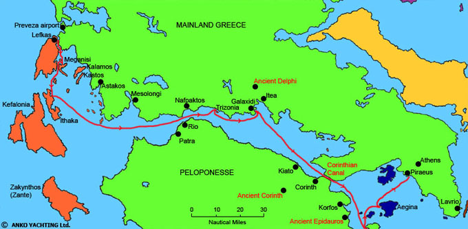 Itinerary from Lefkas to Athens