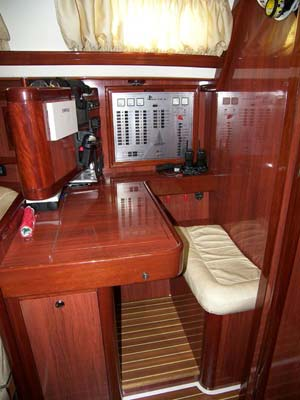 Sailing yacht Mythos II - chart table