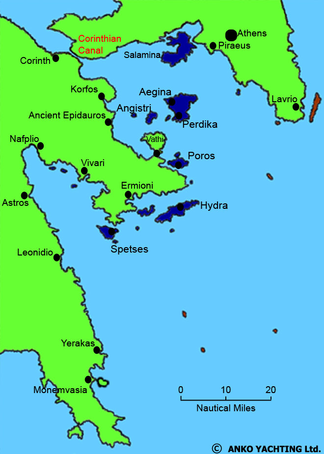 Map of the Saronic