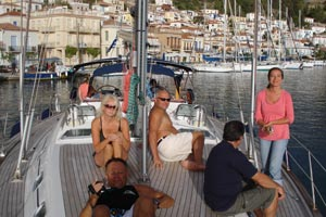 Share a yacht - arriving in a village